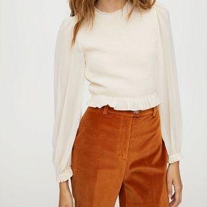 NWT Aritzia Wilfred Lilith blouse in cream, XXS